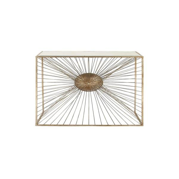 Copper Gold Glass Mirror Rectangular Console Table with Wire Burst-Design Iron