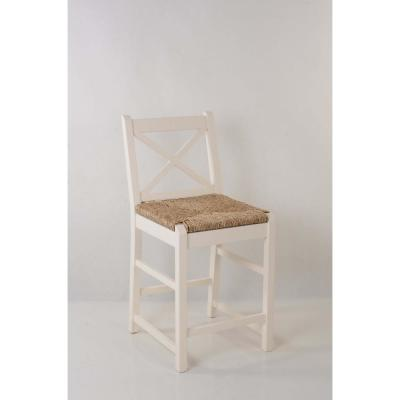 Dorsey Ivory Wood Counter Stool with Back and Rush Seat (17.72 in. W x 38.58 in. H)