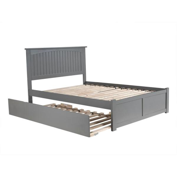Atlantic Furniture Nantucket Full Platform Bed with Flat Panel Foot Board and Twin Size Urban Trundle Bed in Grey