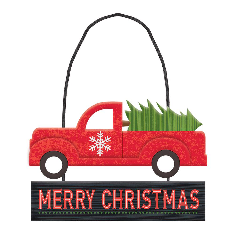 4.75 in. x 6.5 in. Christmas Truck MDF Glitter Sign (6-Pack)