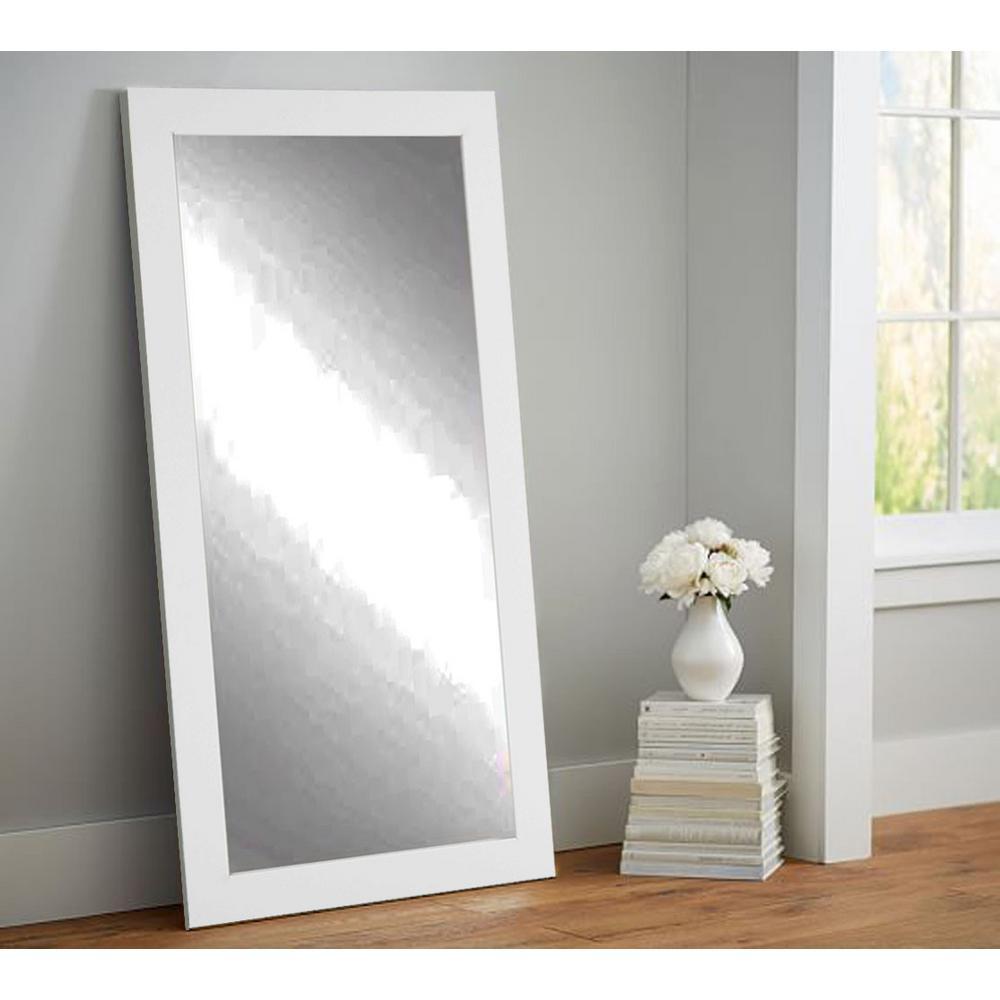 Premium 32 in. x 71 in. Framed Single Wall Mirror in Matte White