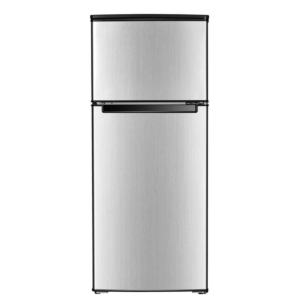 4.5 Cu. Ft. Double Door Mini Refrigerator In Stainless Look ...