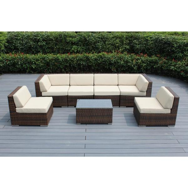 Ohana Depot Ohana Mixed Brown 7 Piece Wicker Patio Seating Set With Supercrylic Beige Cushions Pn7037mb Be The Home Depot
