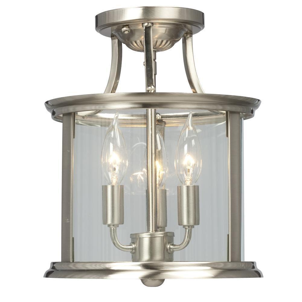 Filament Design Negron 3-Light Brushed Nickel Incandescent Semi-Flush Mount Light