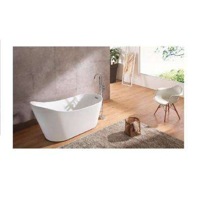 66.9 in. Acrylic Curved Flatbottom Not-Whirlpool Bathtub in Glossy White
