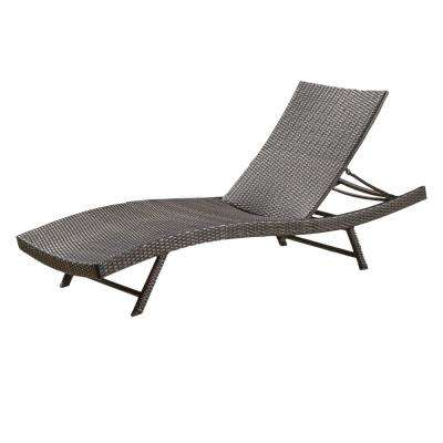 Kauai Multi-Brown 1-Piece Wicker Outdoor Chaise Lounge