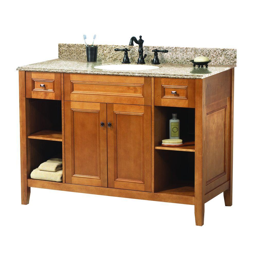 Exhibit 49 in. W x 22 in. D Bath Vanity in Rich Cinnamon with Granite Vanity Top in Golden Hill