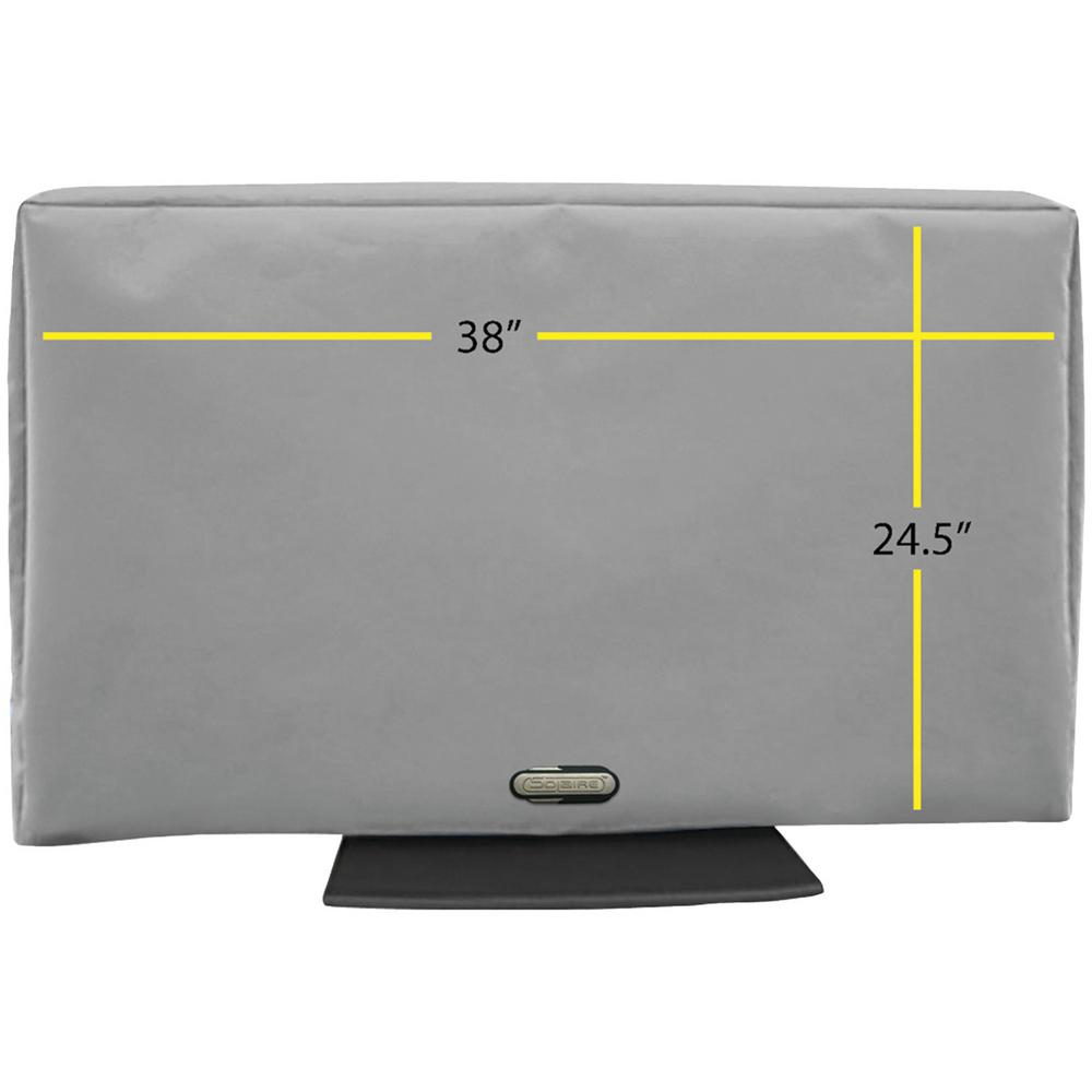 38 in. - 43 in. Outdoor TV Cover Enjoy watching TV on your deck, by your pool, from your hot tub or anywhere outdoors with the Solaire 32 in.-38 in. Outdoor TV Cover. Know your TV is protected in any weather. Give your electronics investments the best protection from the elements with this durable TV cover made from the finest marine grade elements. Measure your TV for the best fitting cover. This cover is 32 in. wide by 23 in. high by 4 in. deep.