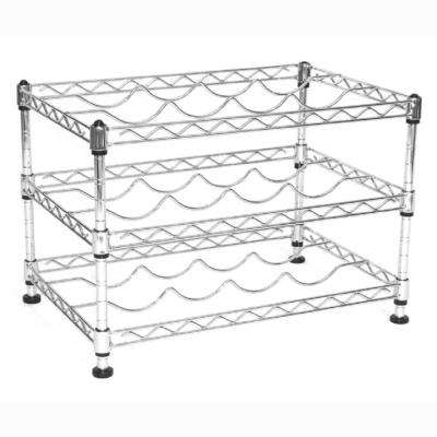 12 in. H x 17.5 in. W x 11.5 in. D 3-Tier Mini Steel Wine Rack in Chrome