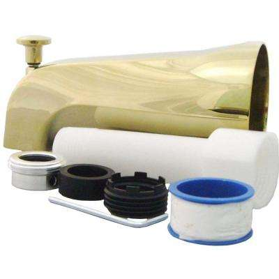 Universal Tub Spout with Diverter in Polished Brass