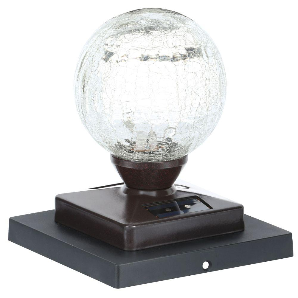 null Heritage Bronze Solar LED Crackle Glass Globe Post Cap (2-Pack)