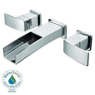 Kenzo 2-Handle Wall Mount Bathroom Faucet in Polished Chrome