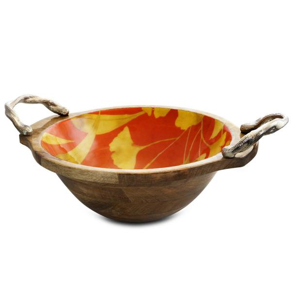 Philomena 13 in. 96 fl. oz. Multicolored Wood Enameled Serving Bowl