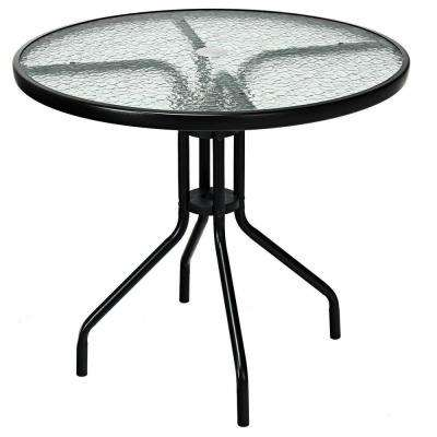 32 in. Steel Round Outdoor Patio Coffee Table Tempered Glass Top with Umbrella Hole Frame