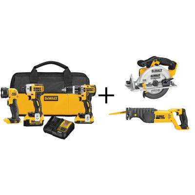 20-Volt MAX XR Lithium-Ion Brushless Compact Cordless Combo Kit (3-Tool) with Bonus Bare Circular Saw, Reciprocating Saw