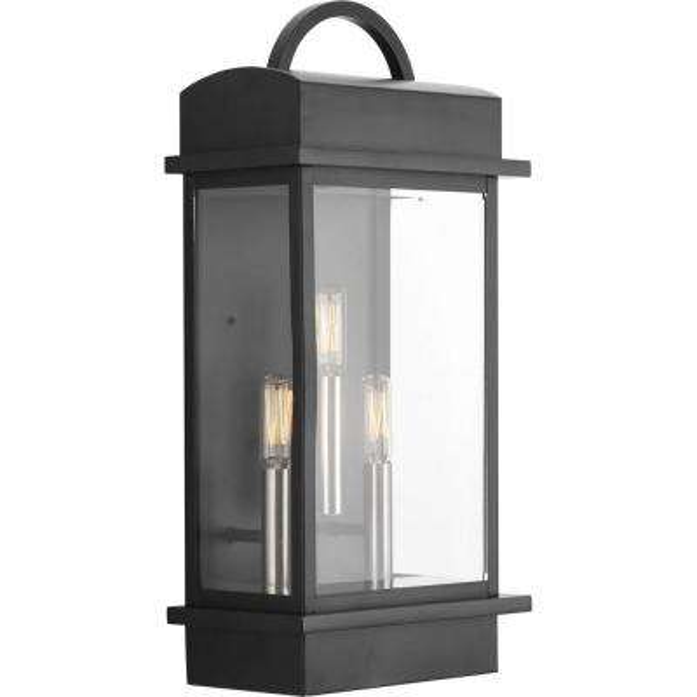 Santee Collection 3-Light Outdoor Black Wall Lantern