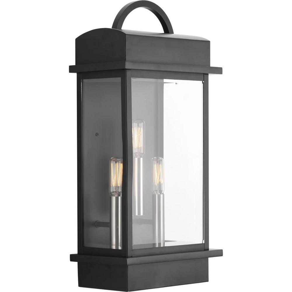 Progress Lighting Santee Collection 3 Light Black 19 6 In Outdoor Wall Lantern