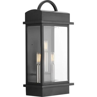 Santee Collection 3-Light Black 19.6 in. Outdoor Wall Lantern Sconce