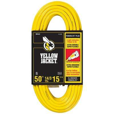 50 ft. 14/3 SJTW Outdoor Heavy-Duty 15 Amp Contractor Extension Cord with Power Light Plug