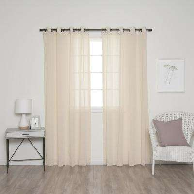 84 in. L Ivory and Black Grommet Faux Linen Curtain (2-Pack)