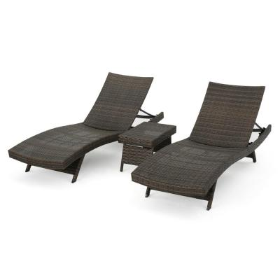 Mixed Mocha 3-Piece Wicker Outdoor Chaise Lounge and Table Set