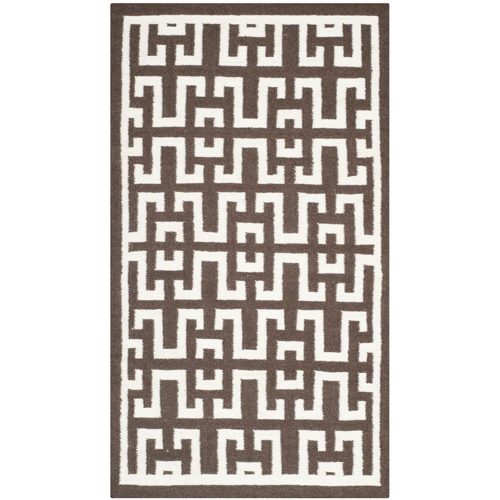Dhurries Chocolate/Ivory 5 ft. x 8 ft. Area Rug