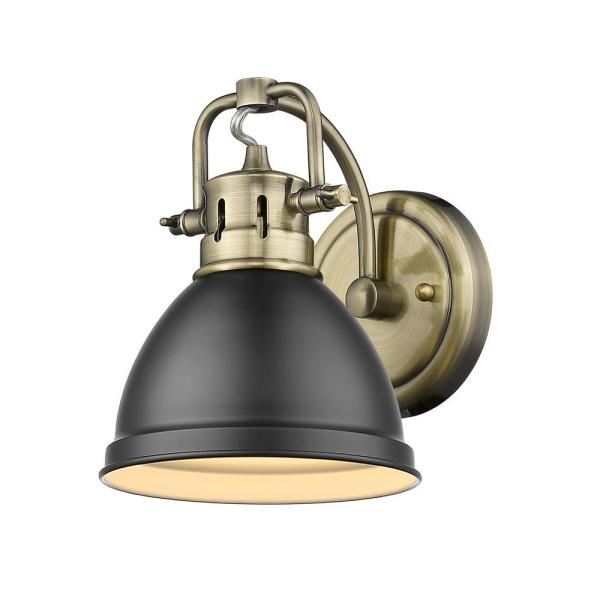 Duncan Collection Aged Brass 1-Light Bath Sconce Light with Matte Black Shade