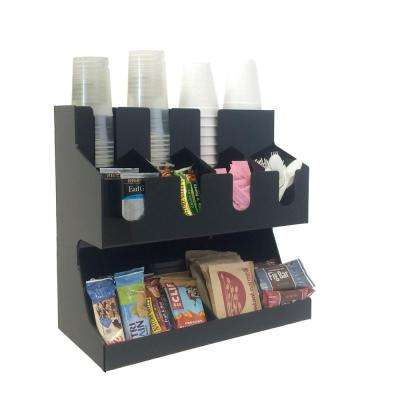 'Fancy '  Black Acrylic Jumbo Condiment Organizer, Black