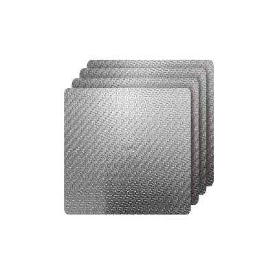 Cambria Silver Metallic Faux Leather Square Placemats (Set of 4)