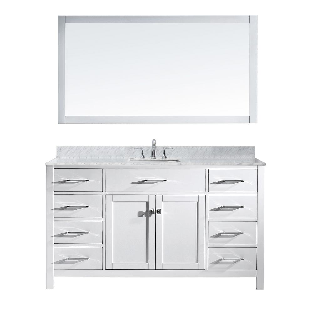 Virtu USA Caroline 60 in. W Bath Vanity in White with Marble Vanity Top in White with Square Basin and Mirror