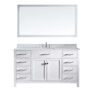 Caroline 60 in. W x 36 in. H Vanity with Marble Vanity Top in Carrara White with White Square Basin and Mirror