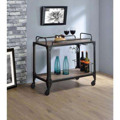 Caitlin Rustic Oak U0026 Black Serving Cart