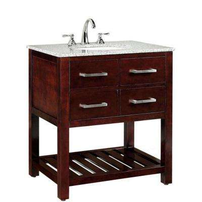 Fraser 31 in. W x 21-1/2 in. D Bath Vanity in Espresso with Solid Granite Vanity Top in White