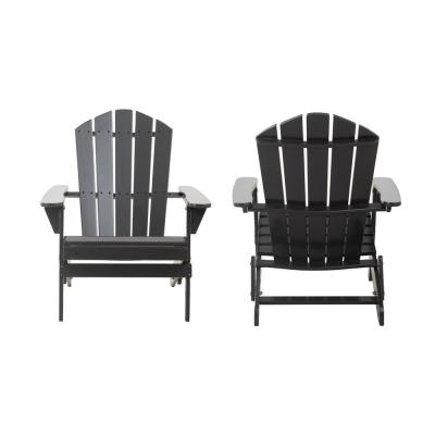 Classic Black Folding Wooden Adirondack Chair (2-Pack)