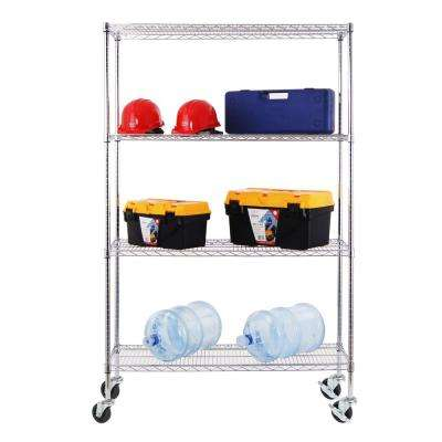 48 in. W x 18 in. D x 77 in. H NSF Multi-Purpose 4-Tier Chrome Wire Shelving Unit with Casters