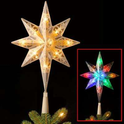 11 in. Tree Topper Star with Battery Operated Dual Color LED Lights