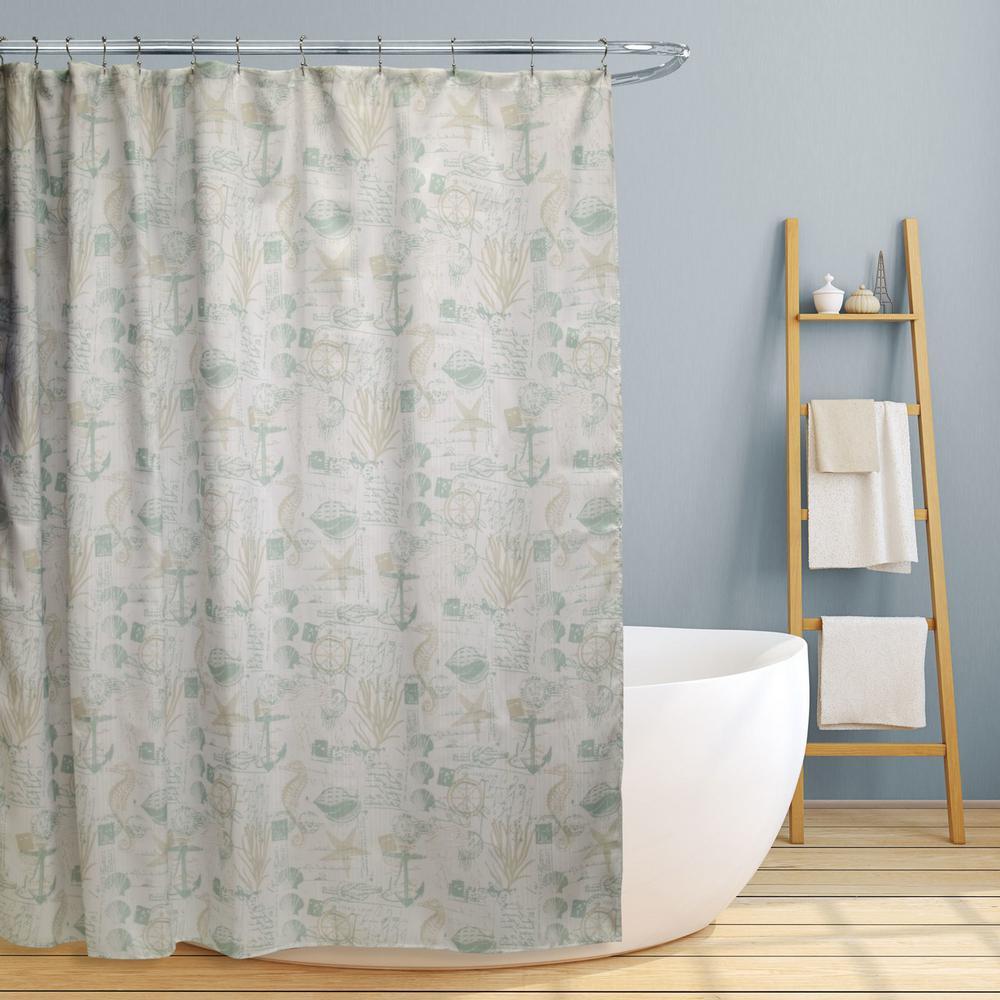Jamie 70 in. Fun Nautical Design Canvas Shower Curtain