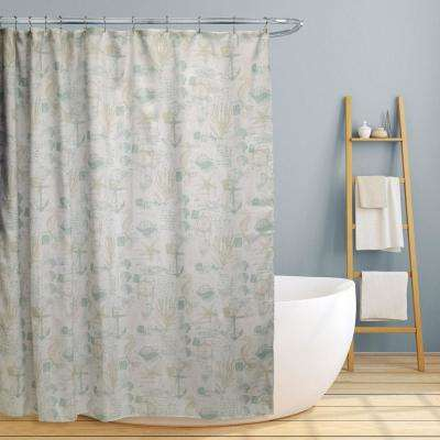 Jamie 70 in. Fun Nautical Design Canvas Shower Curtain