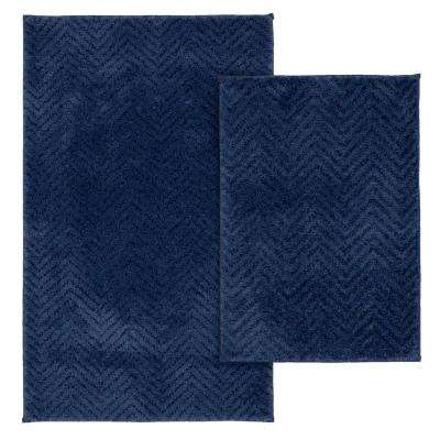 Palazzo 2 Piece Rug Washable Bathroom Rug Set in Indigo