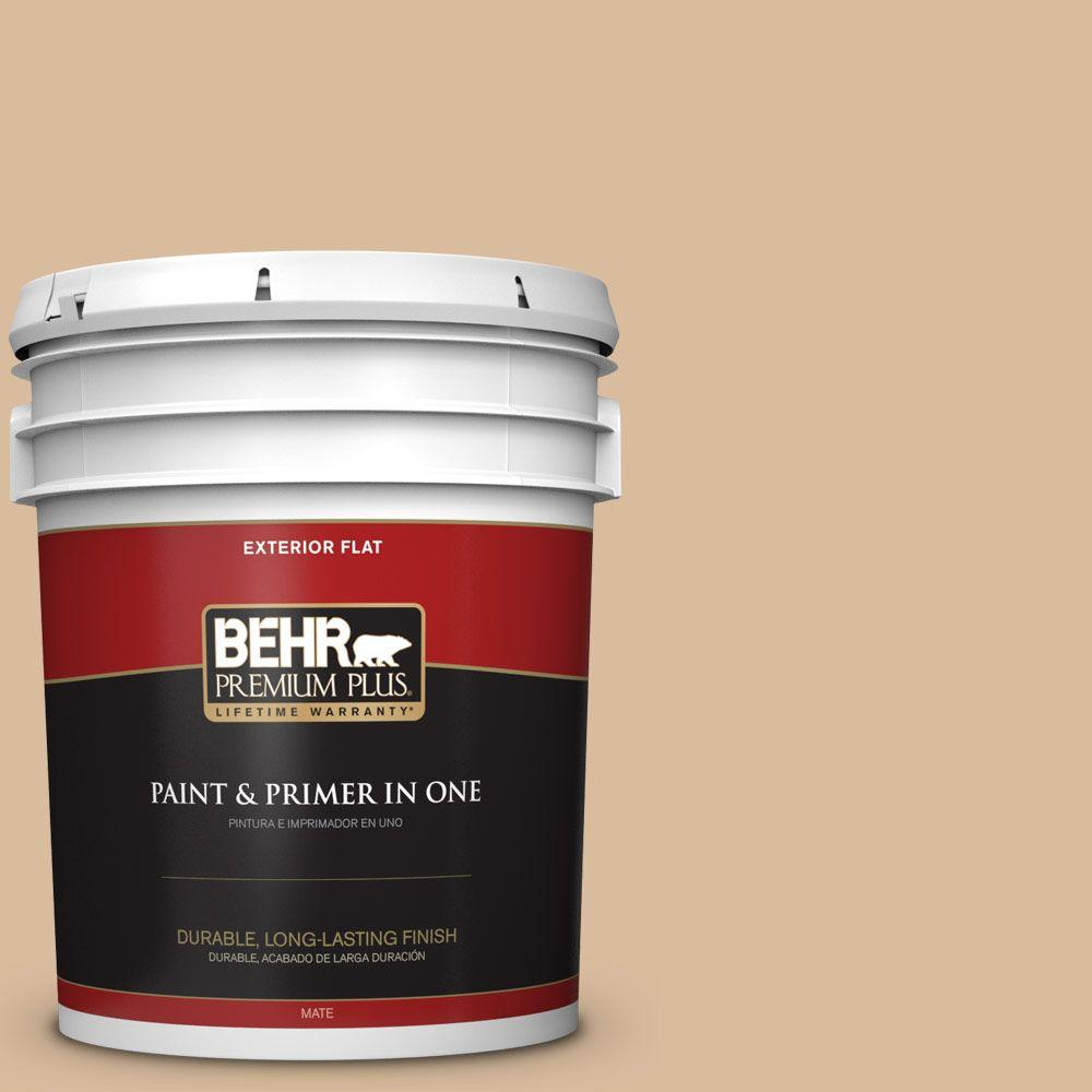 BEHR Premium Plus 5-gal. #BXC-40 Soft Wheat Flat Exterior Paint