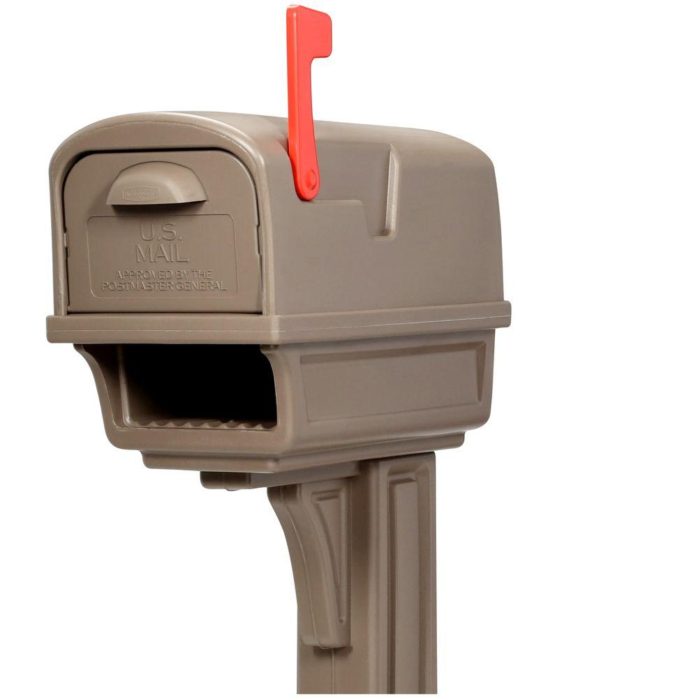 Rubbermaid Gentry All-in-One Plastic Mailbox and Post Combo, Mocha