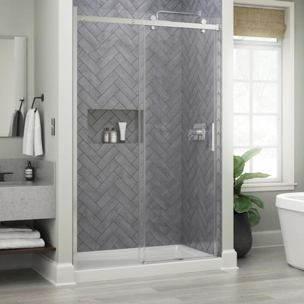 Commix 48 in. x 76 in. Sliding Frameless Shower Door in Chrome with 5/16 in. (8 mm) Clear Glass