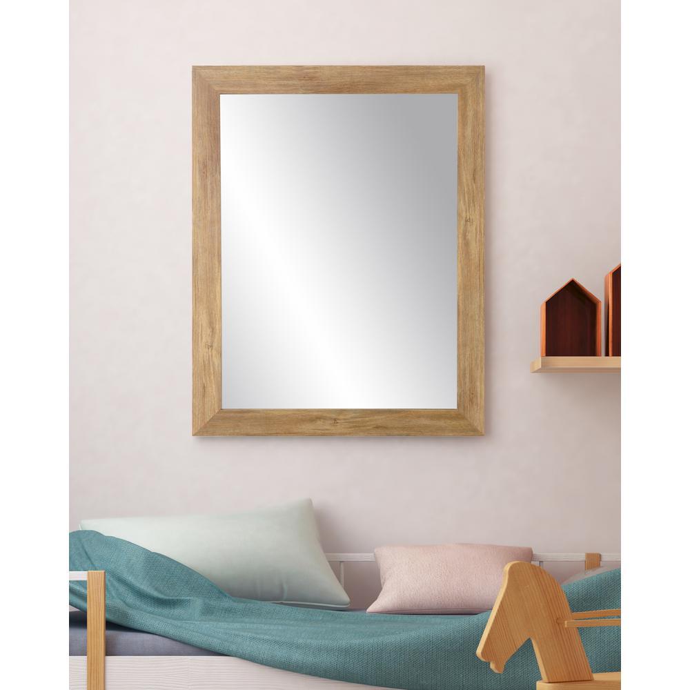 Blonde 27 in. W x 32 in. H Framed Rectangular Bathroom Vanity Mirror in Light Brown