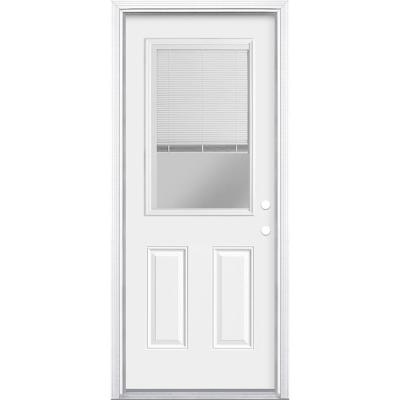 32 in. x 80 in. Premium Clear 1/2-Lite Mini-Blind Left Hand Inswing Primed Steel Prehung Front Door with Brickmold