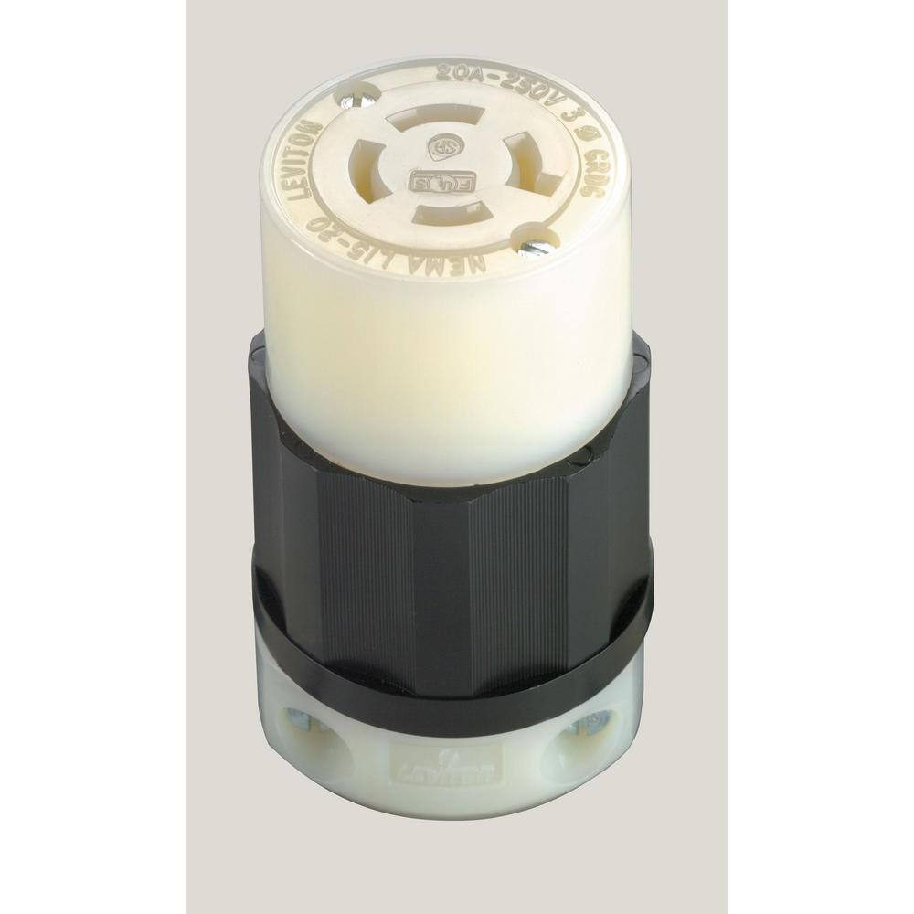 Leviton 20 Amp 250-volt Locking Grounding Connector  Black  White-2423