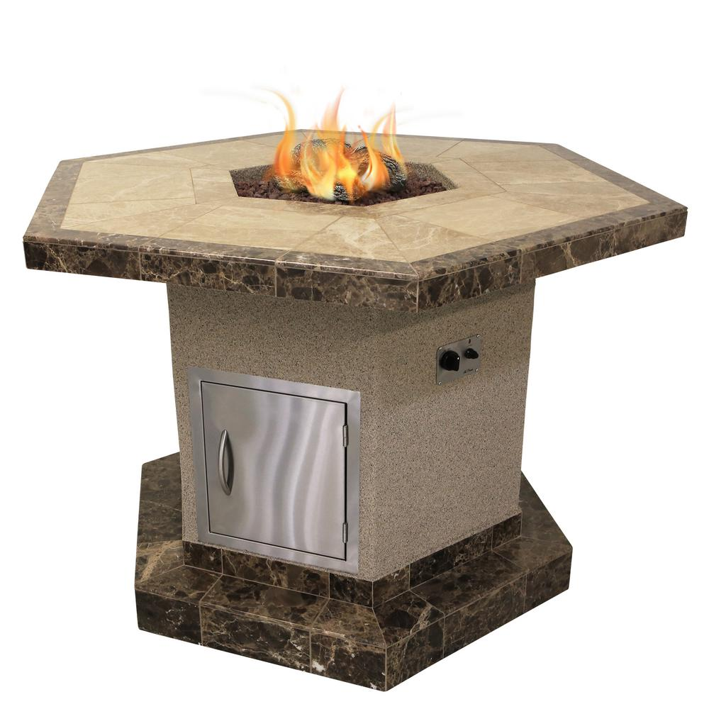Cal Flame Stucco and Tile Dining Height Square Propane Gas Fire Pit with  Log Set and - Cal Flame Stucco And Tile Dining Height Square Propane Gas Fire Pit