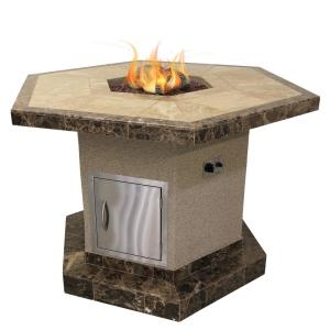 Cal Flame Stucco and Tile Dining Height Square Propane Gas Fire Pit with Log Set... by Cal Flame