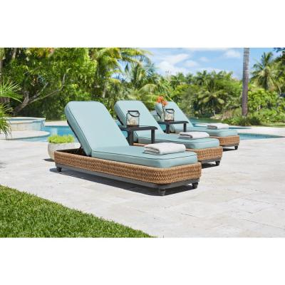 Camden Seagrass Light Brown Wicker Outdoor Patio Chaise Lounge with Sunbrella Cast Spa Cushions