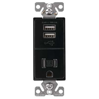 2.4 Amp USB Charger with Single Receptacle, Black