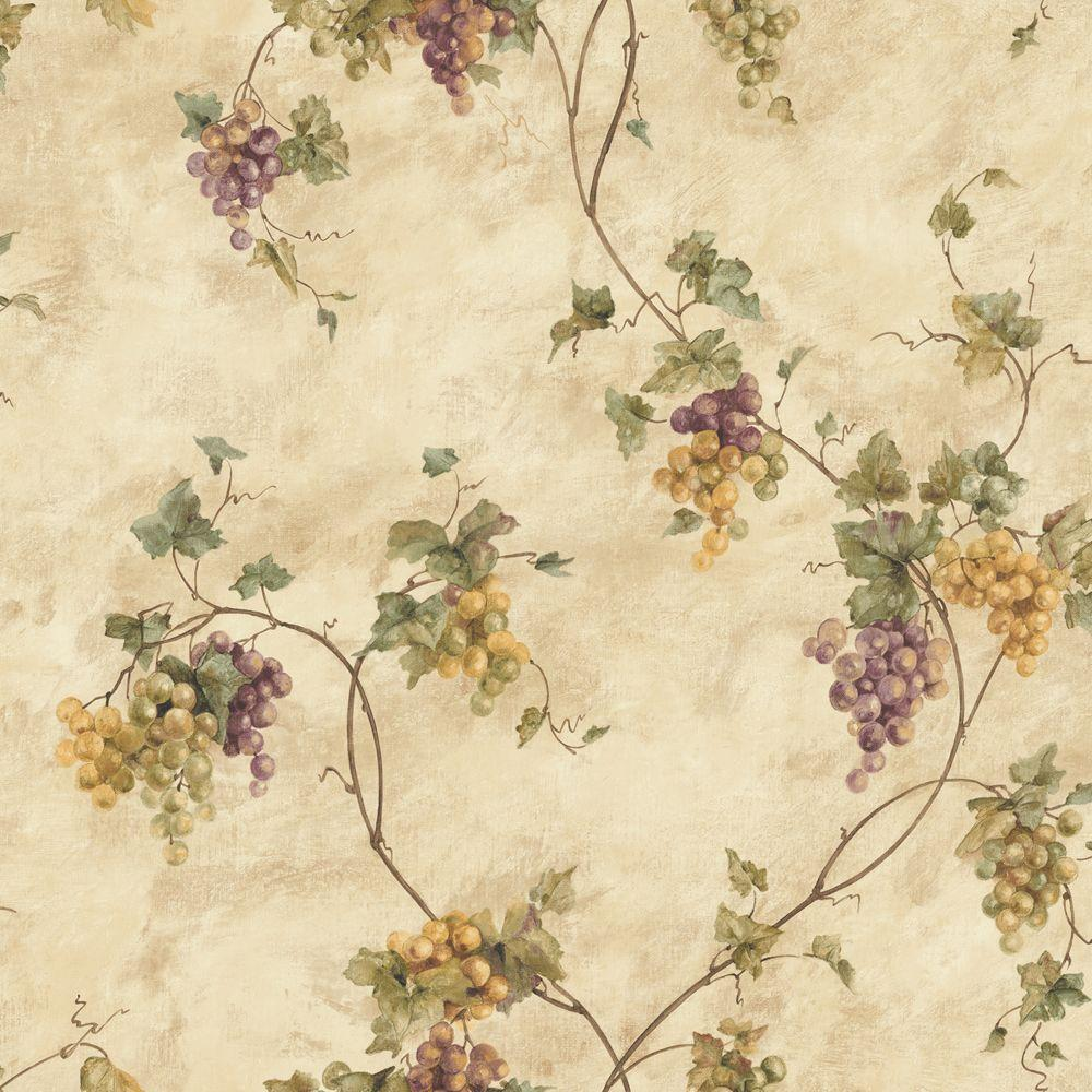 The Wallpaper Company 56 sq. ft. Beige Grape Watercolor Wallpaper-DISCONTINUED